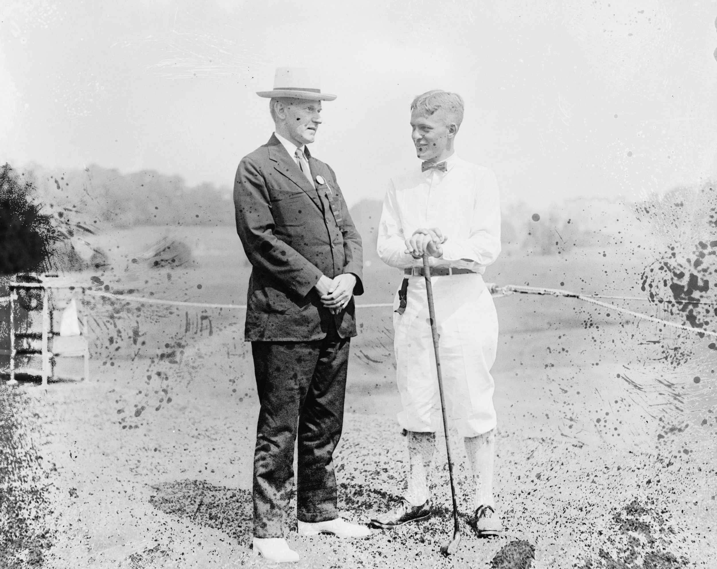 Bobby Jones, here with Calvin Coolidge in 1921, helped the United States team to victory in the first Walker Cup, held at the National Golf Links,