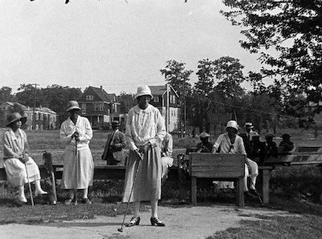 Waiting to tee off on a busy day at Shady Rest.