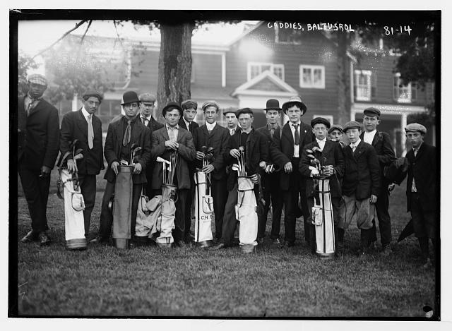 The Baltustrol caddie yard, circa 1914.
