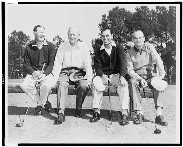 A true Masters foursome: Byron Nelson, Dwight Eisenhoswer, Be Hogan, Clifford Roberts.