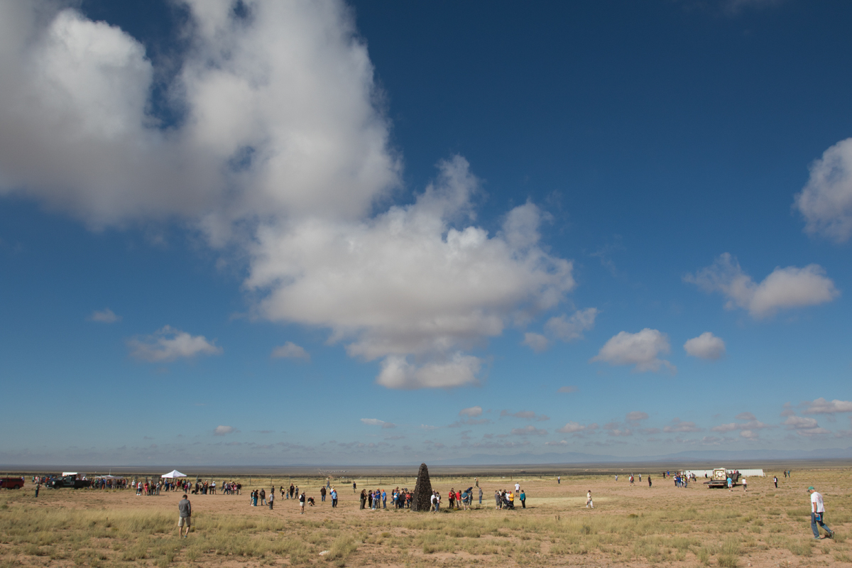 Early in the day, visitors filter into the Trinity site,WSMR, New Mexico.