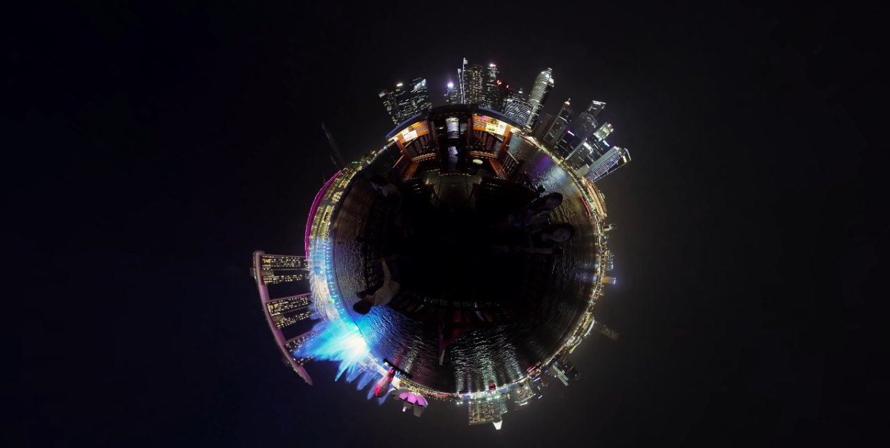 360 Spherical View of MBS at night
