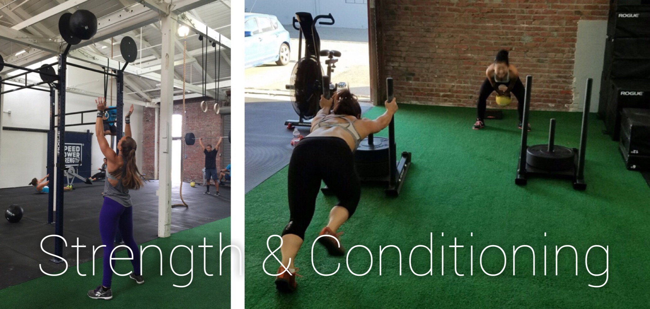 various women practicing strength and conditioning routines