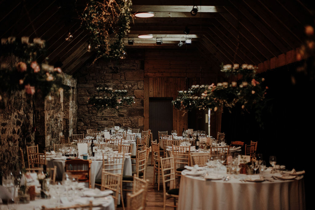 Wedding in Byre at Inchyra table decor