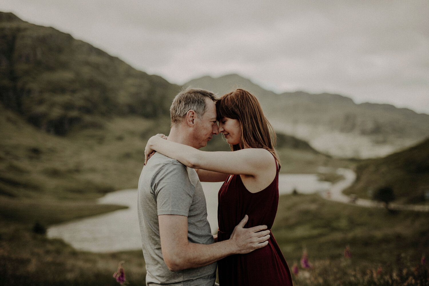 engagement picture taken in Scottish Highlands in summer