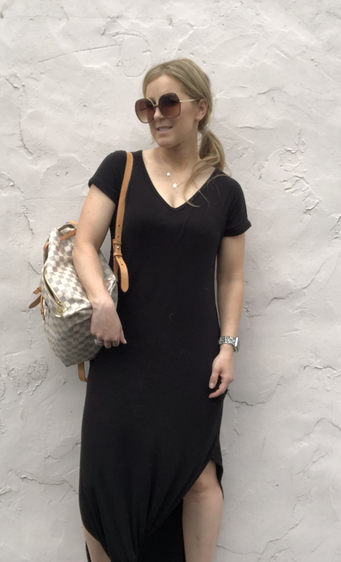 The oversized sunnies and the maxi dress! I always tie the front part of the bottom!