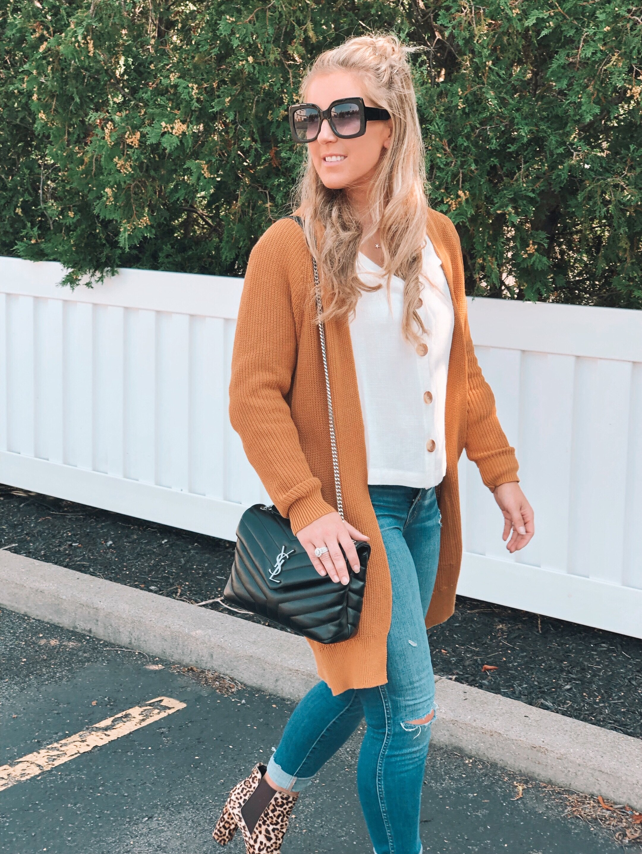 Me…looking back at this week like BYE FELECIA!!! I get a ton of compliments on this cardigan ((perfect for fall) and this top is available also in the perfect fall color ((see below)) Jeans on sale as well! xo