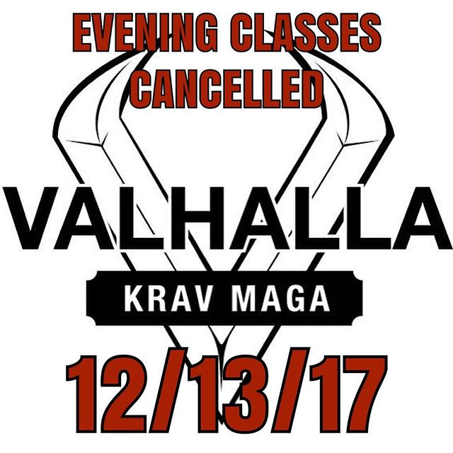 Due to Mother Nature being a little temperamental tonight, all evening classes are cancelled. Classes will resume as scheduled tomorrow morning. #badweather #vkm #valhallarising #valhallakrav #valhallakravmaga #earnyourplace