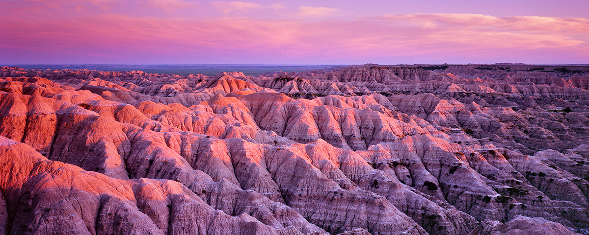 """""""Last Light on the Badlands"""" - Velvia 100 example showing the strong magenta cast in the shadows."""