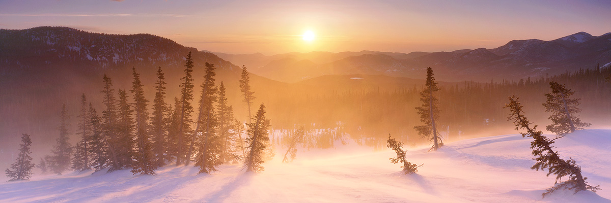 """""""Glowing Windstorm"""" – Howling winds blow snow around the sides of flattop mountain. One of my favorite places to go on a morning when most people would rather be in a warm bed. Prints available."""