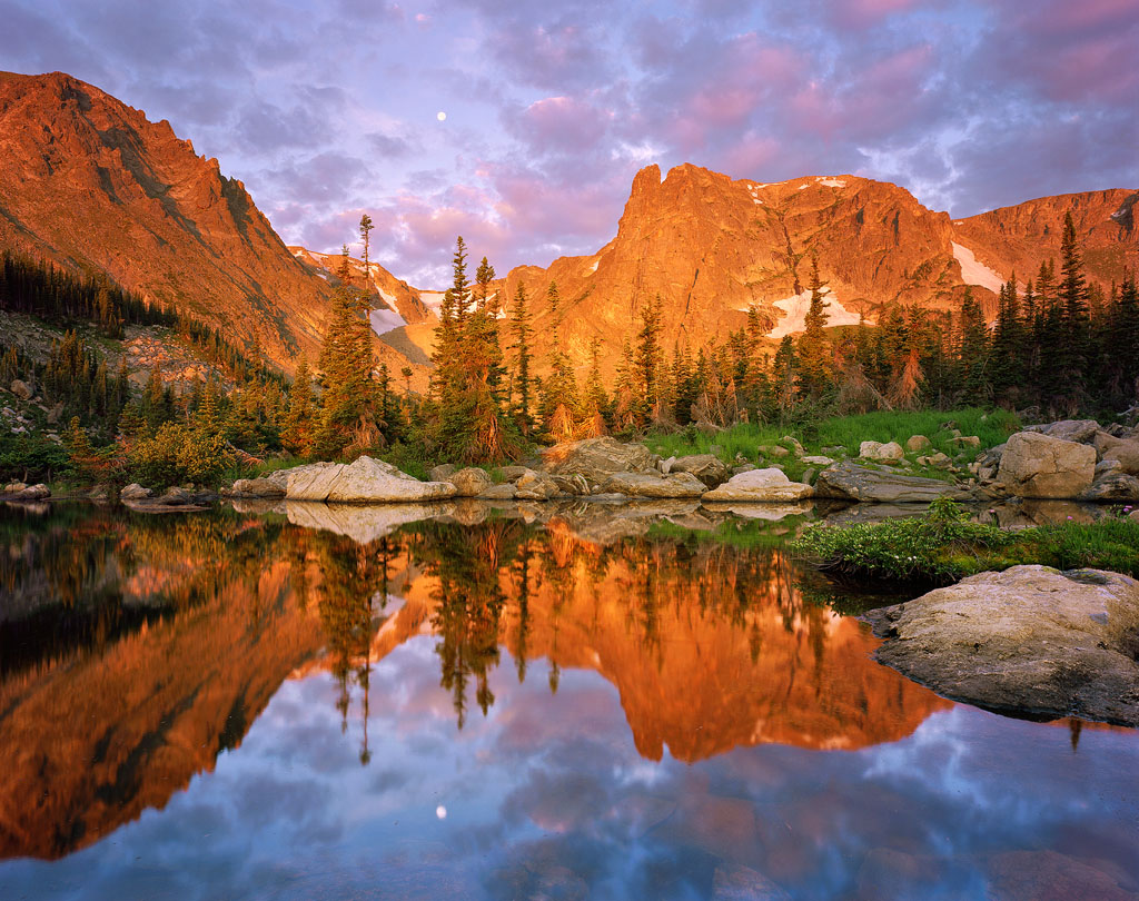 """""""Alpenglow at Two Rivers Lake"""" – A wild combination of glowing peaks, puffy clouds and the setting moon made for my favorite morning of photography this entire year. Prints available!"""