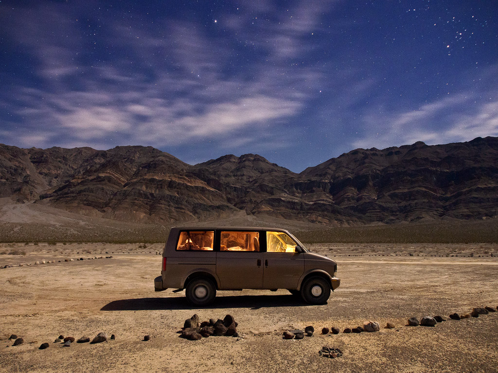 My van under the stars. I was able to camp in solitude like this every night of the trip.