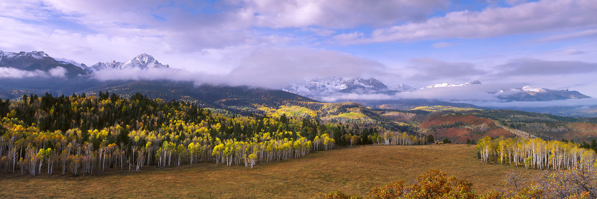 """Sneffels Range Autumn"" - Provia 100f 6x17, 105mm lens, 1/2 second at f22, center spot ND and 1 stop soft GND filters.  The center spot filter is for dealing with lens vignette on this very wide format."