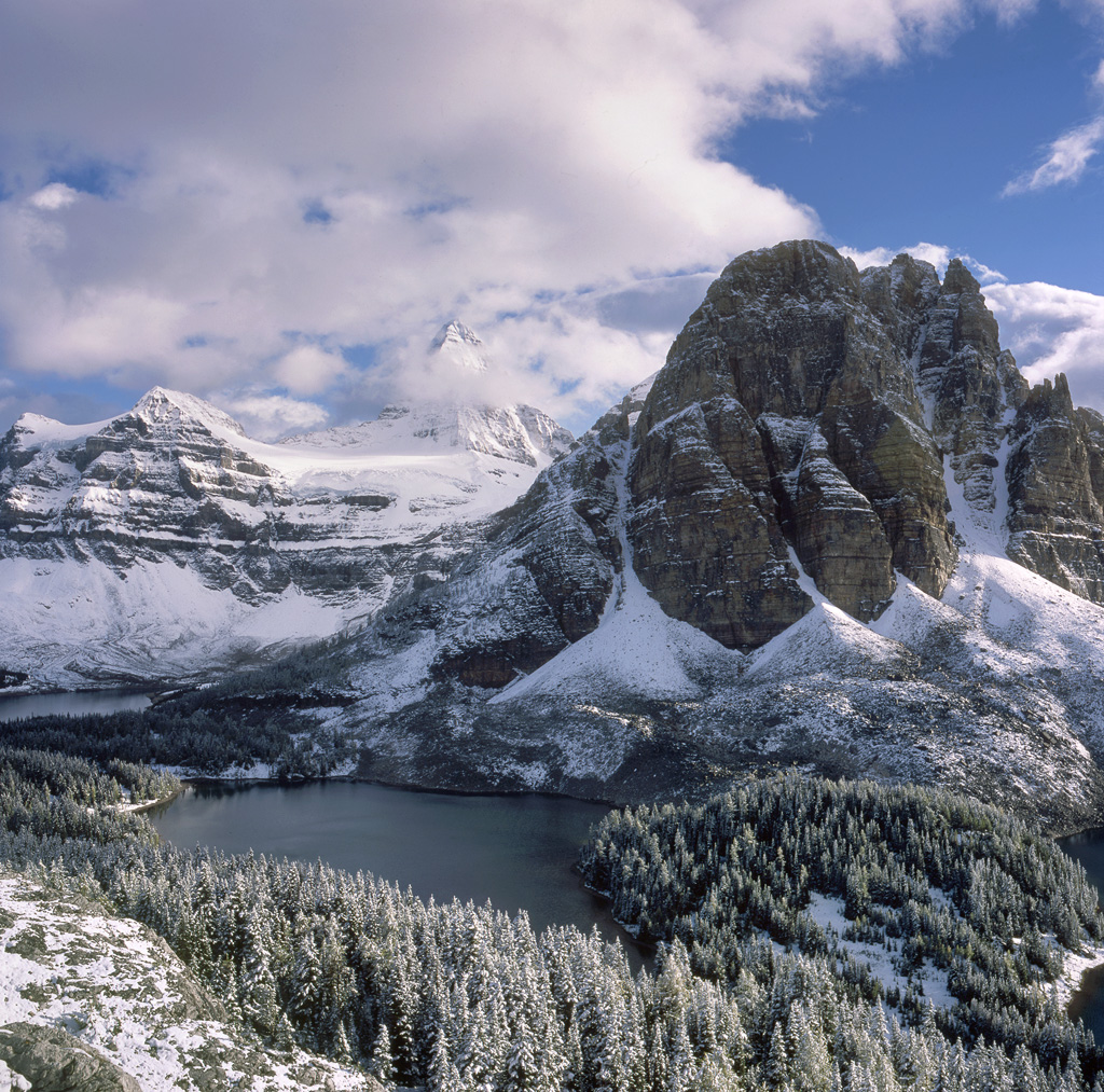 """""""Assiniboine Snow"""" - Amy and I woke up to a half foot of snow while backpacking in the Canadian Rockies. The late afternoon light that day was wonderful. Prints available."""