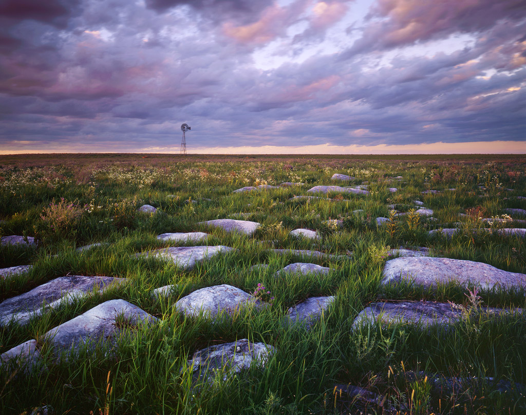 """""""Flint and Windmill"""" - Another view from the Flint Hills, with the namesake rock sticking out from the prairie in patches like this. Prints Available."""