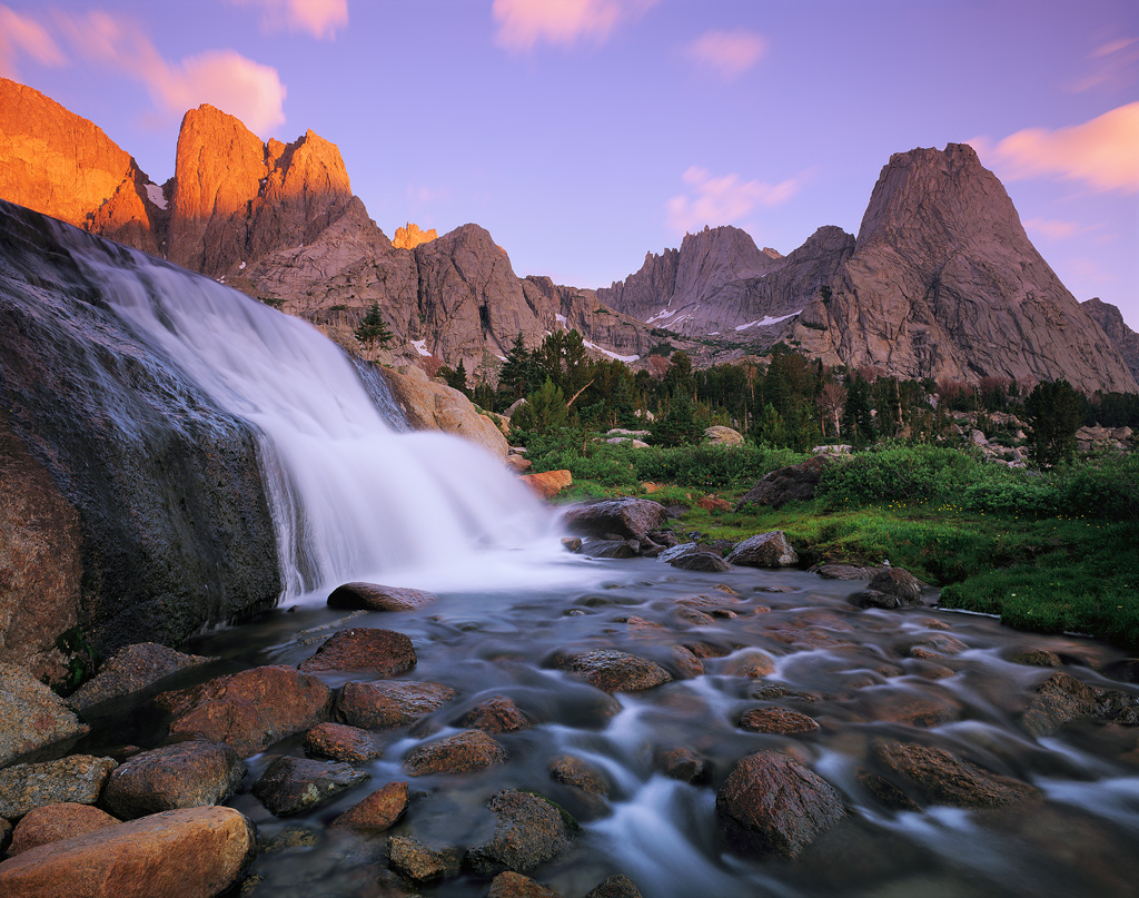 """""""Water and Towers"""" - An unusual waterfall pours over a huge granite outcropping below Pingora Peak. Prints Available. Velvia 50 4x5, 75mm lens - 10 seconds at f32, 2 stop soft GND filter."""