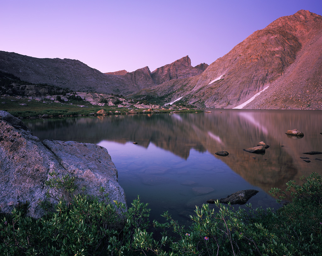 """""""Billy's Lake Blue Hour"""" - Evening twilight from the back side of the Cirque. Prints Available. Provia 100f 4x5, 75mm lens - 4 minutes at f22, warming filter"""