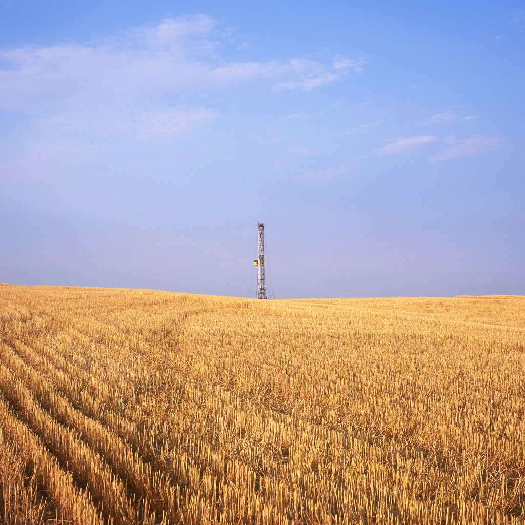 Cut Wheat And Drilling Rig