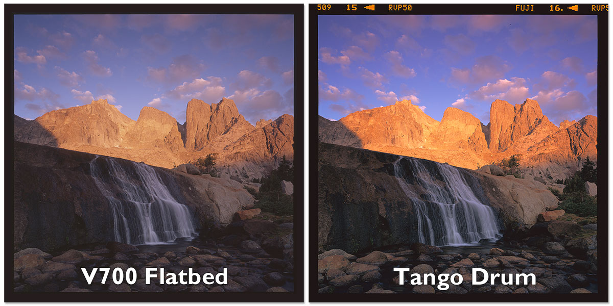 A side by side comparison of the same frame scanned on a flatbed and Drum scanner, with no edits whatsoever. Notice the increased shadow detail on the drum scan on the right, the file is much closer to what the film looks like on a light table. Film is 6x6 Fuji Velvia 50.