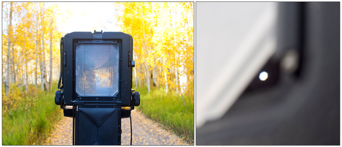 On the left you can see the image on the ground glass, notice the corners are clipped on the glass. The image on the right shows you what the lens opening looks like through the corners. If the circle isn't round when the lens is stopped down then you'll have some notable vignette issues.