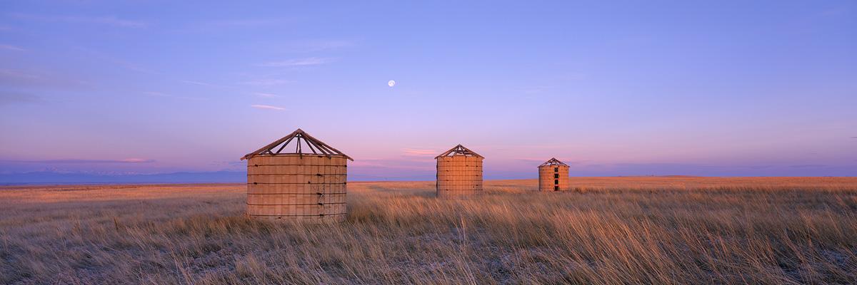 Three Silos Moonset