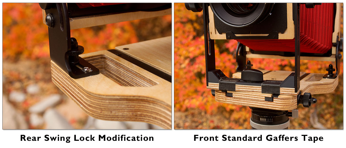 Image showing a couple of modifications I made to the camera. I just didn't see the need for rear swing and didn't care for how it could move without me wanting it to so I essentially deleted the movement. The two strips of gaffers tape on the front standard add some friction to help it clamp down.