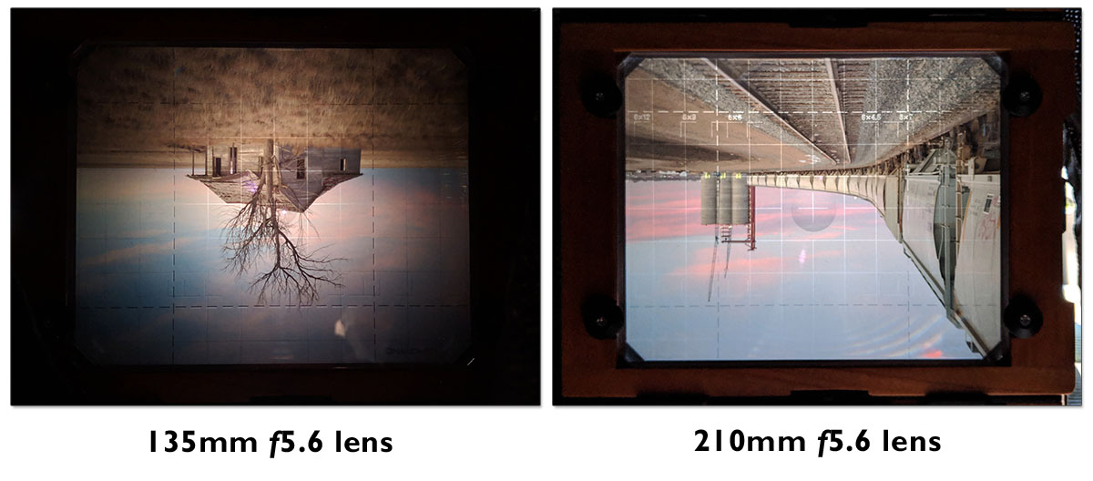 Difference in ground glass brightness between 135mm and 210mm f5.6 lenses. Both lenses are shown wide open in light conditions that are nearly identical. As the lenses get even wider (such as 90mm) the view will get far dimmer on most fresnel-equipped ground glasses.