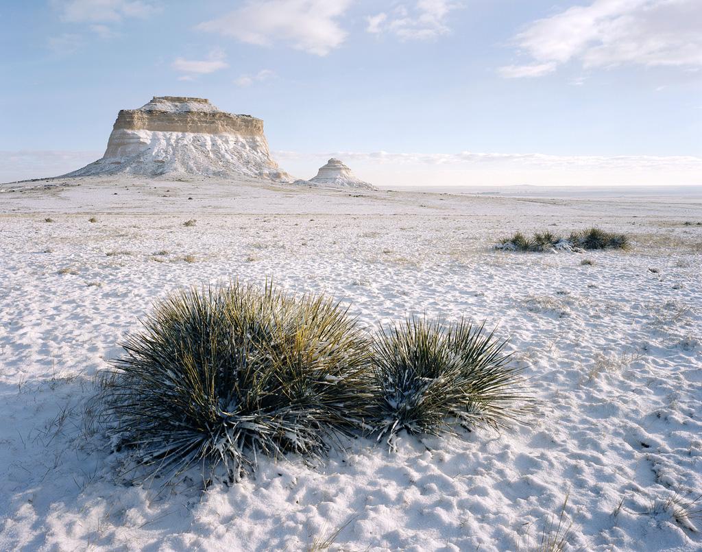 """""""Pawnee Buttes in the Snow"""" - Portra 160 4x5, 90mm lens, 1/60th at f22, no filters."""