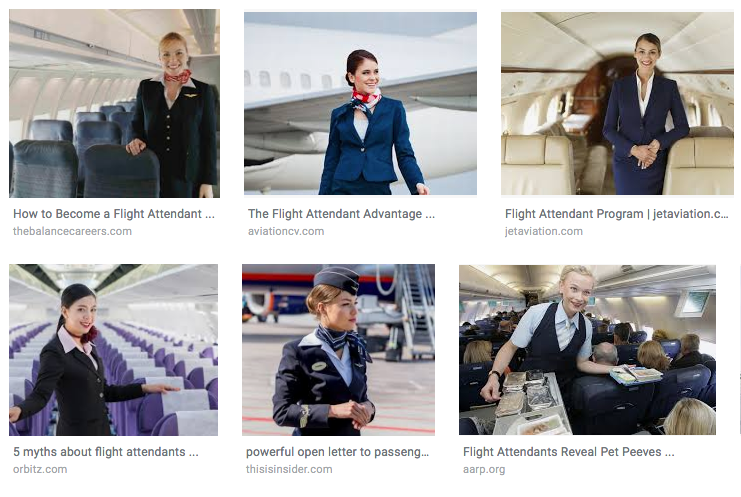 "A screenshot of the results from a Google Images search for ""flight attendants"""