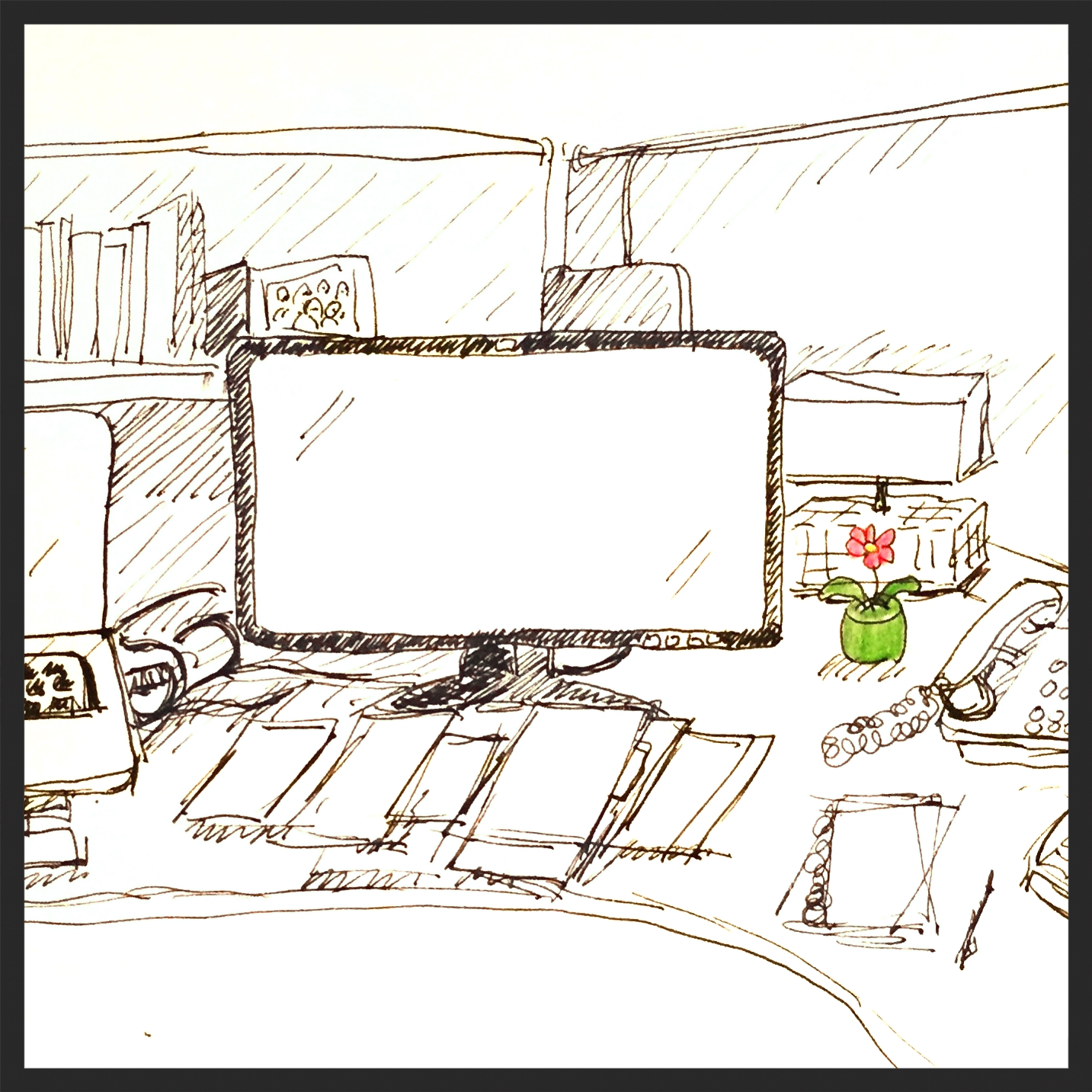 Happy bobbing flower, laptop and monitor
