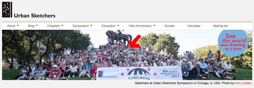 We are 570+ people from 34 countries in Chicago to draw. I'm one of the pin dots near the statue.