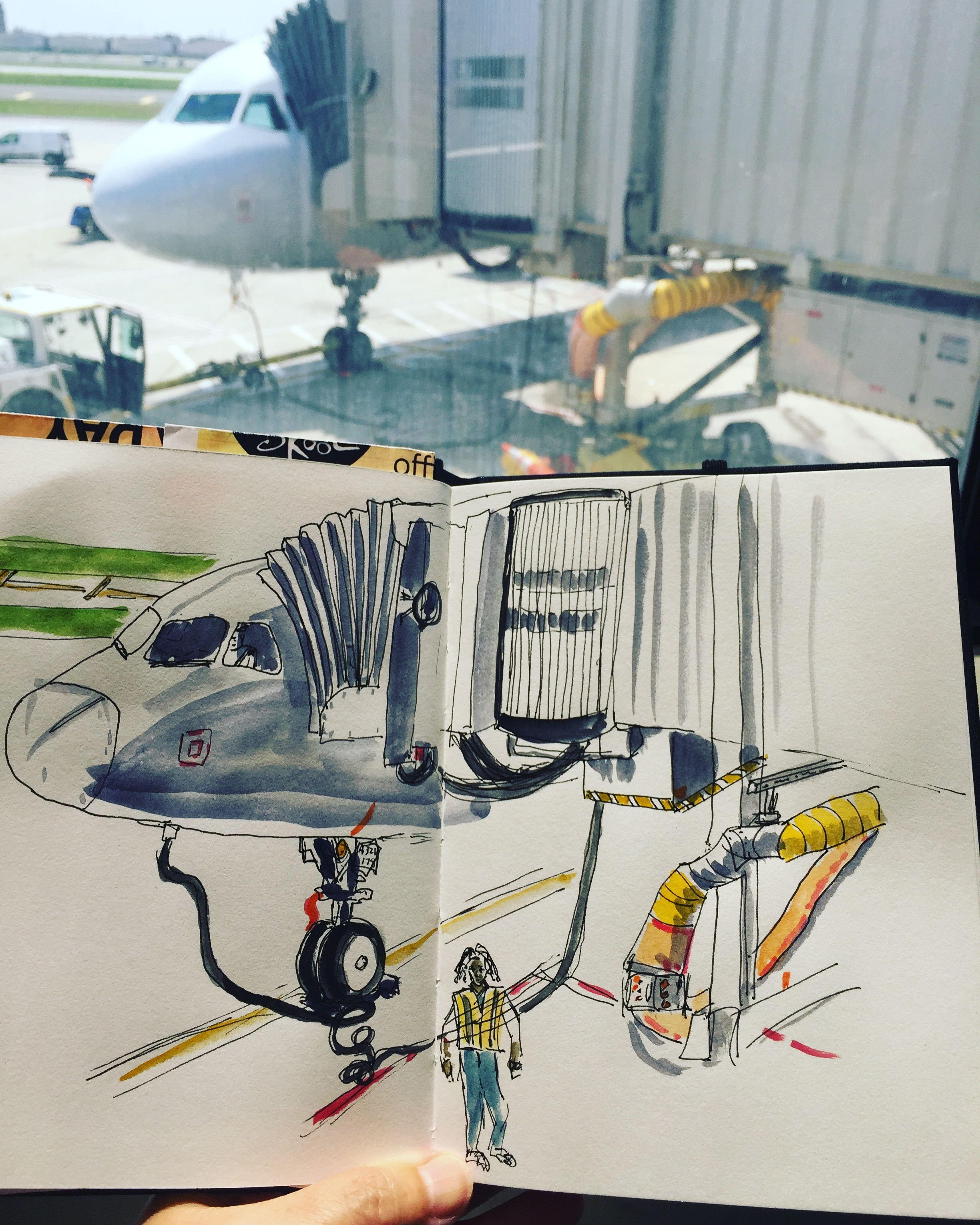 At PHL airport, waiting for my flight makes me happy when I can sketch it