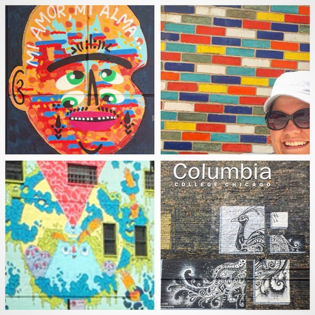 Face mural, colored bricks, a drippy mural (fuzzy!) and a stenciled peacock mural
