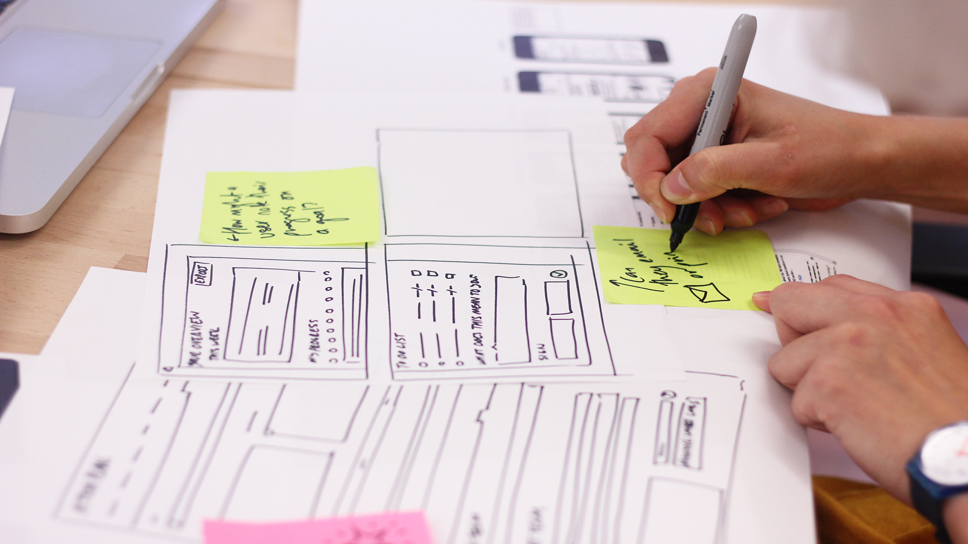 Producing early wireframes based on the user needs