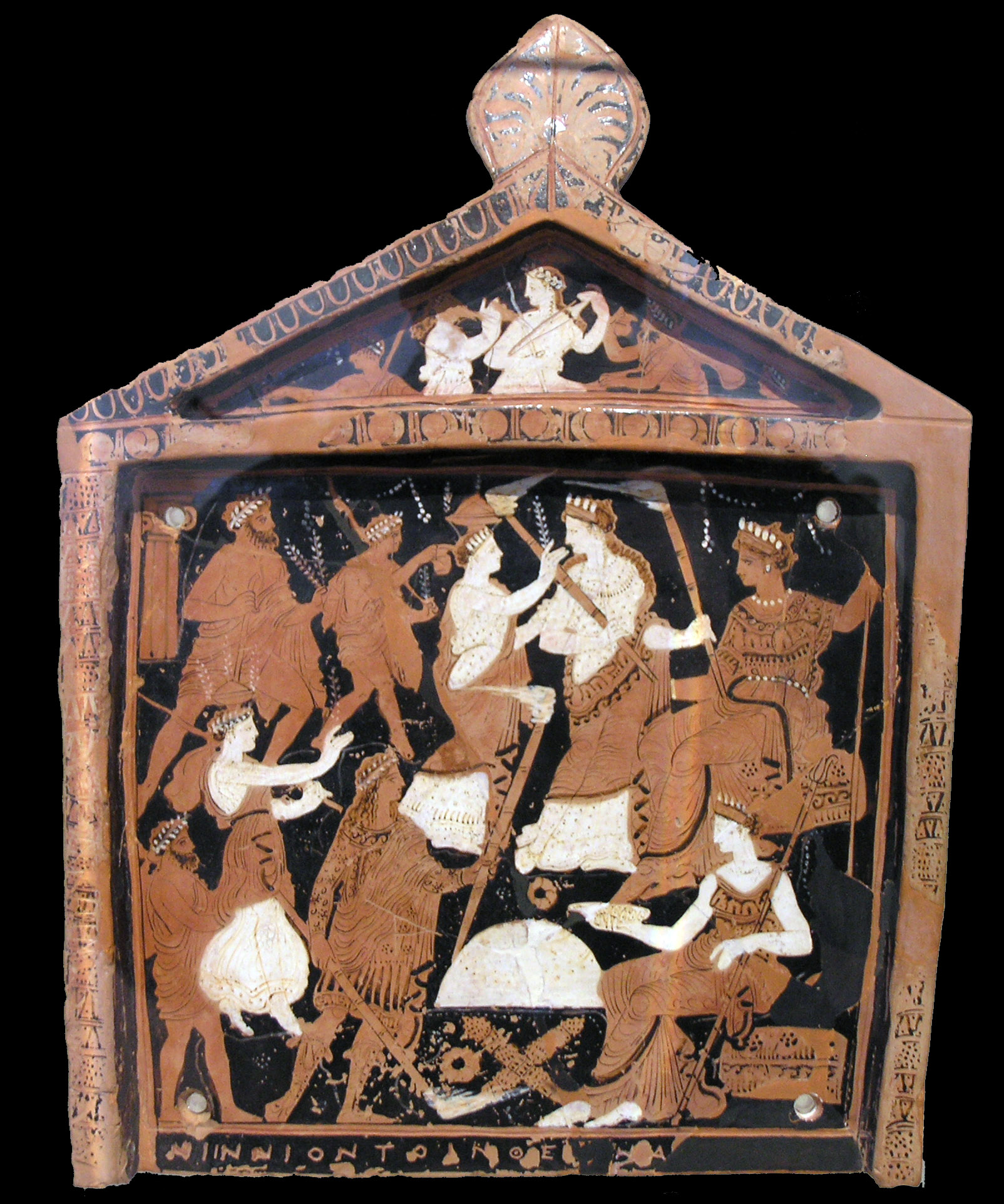 """image: Ninnion Pinax, or """"Votive Plaque of Ninnion"""" dedicated to the keepers of Eleusis. Wikimedia commons (   link   )."""