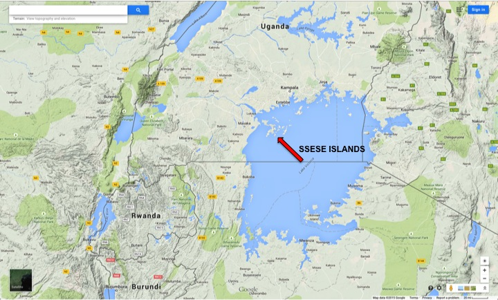 The Ssese Islands, in Lake Victoria, indicated by the red arrow. Google Maps.