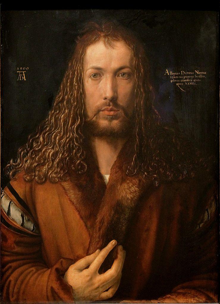 Self-portrait of artist Albrecht Durer, Wikimedia commons (   link   ).