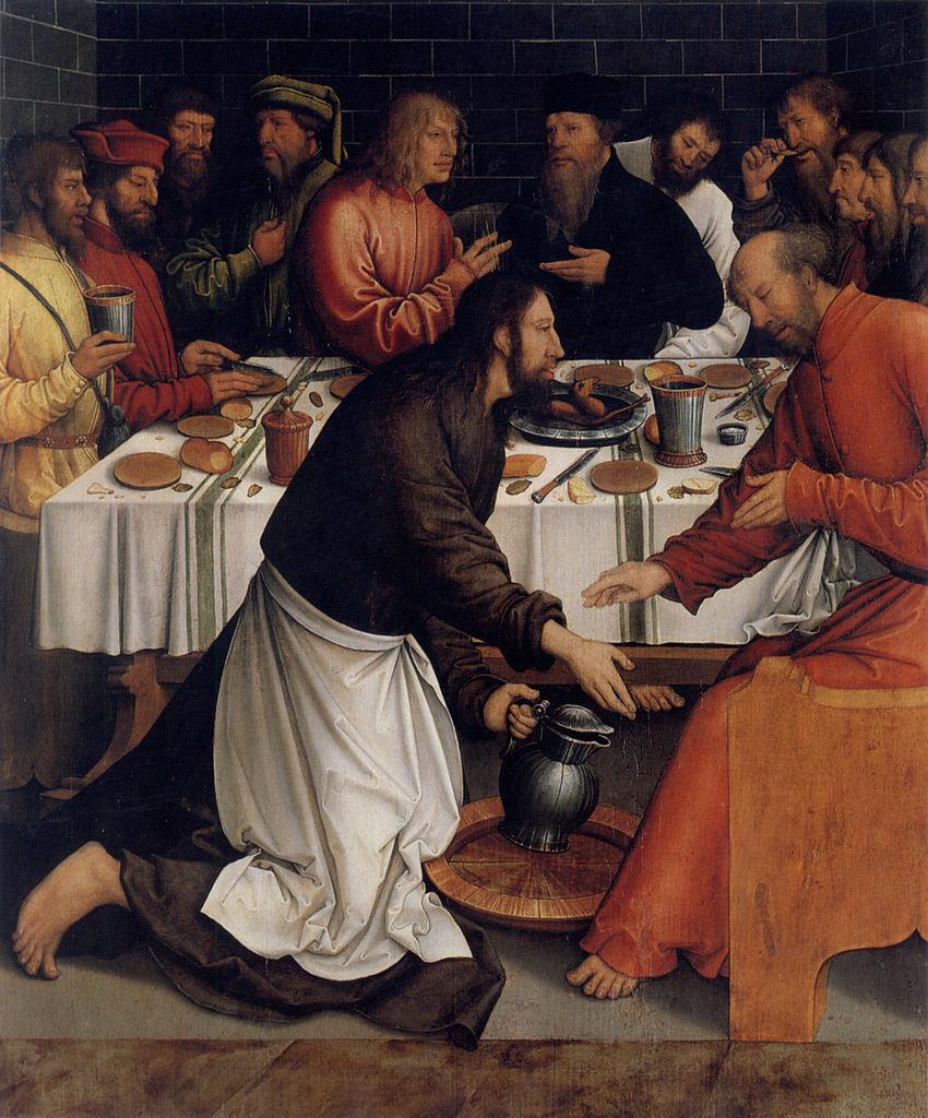 image:   Christ Washing the Disciples' Feet   , Bernhard Strigel (1465 - 1528).