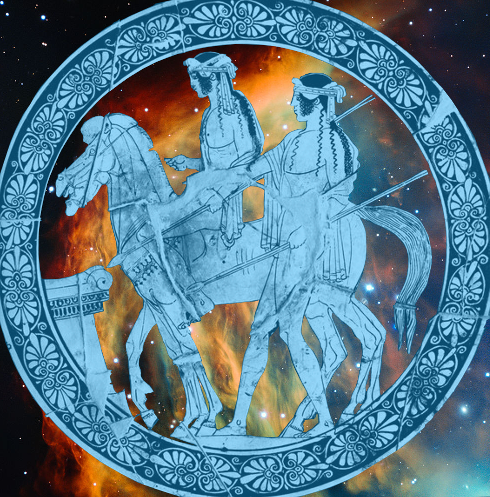 image: Dioscuri from ancient red-figure kalix (  link  ), modified and superimposed on Medusa nebula (  link  ).