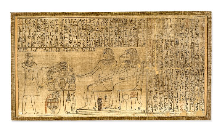 above: text and illustration from the Papyrus of Nebseny, showing Nebseny and his wife Senseneb.   British Museum  .