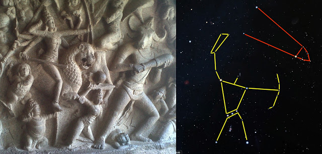 durga mahishasura relief with orion and taurus 02.jpg