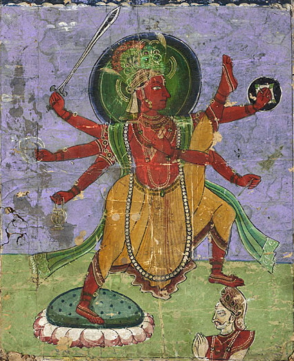 image: Vamana, an avatar of Vishnu, taking his three tremendous steps which measure the entire cosmos, and in the process sending King Mahabali of Kerala to the netherworld. Wikimedia commons (  link  ).