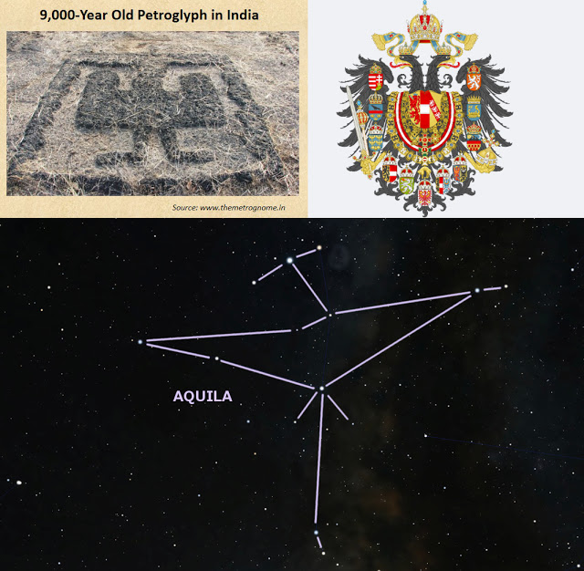 """images:  Top left: Petroglyph in Maharashtra, India. From Bibhu Dev Misra's post, """"  12,000-year old petroglyphs in India show Global Connections  .""""  Top right: Wikimedia commons (  link  ). Bottom: Stellarium.org"""