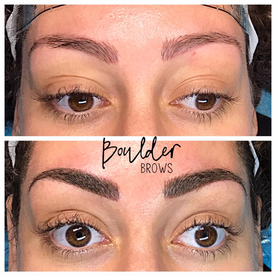 1ST MICROBLADING SESSION  Top: Before + Faded Old Reddish Tattoo | Bottom: After