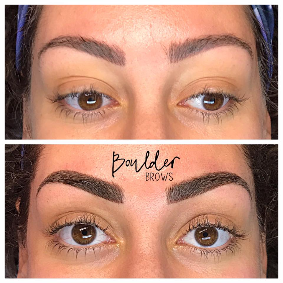 2ND MICROBLADING SESSION  [SAME CLIENT AS PRIOR PHOTO] Top: Healed After 1st Coverup Session | Bottom: Immediately After Touchup