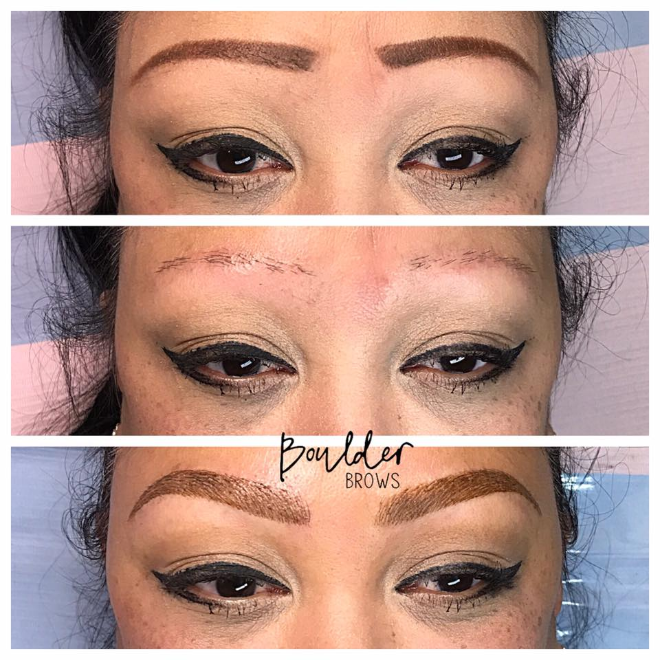 Top: Client's Drawing | Middle: Old Faded Pink Tattoo + Bosley Hair Transplants (both way too high) | Bottom: After Microblading & Shading
