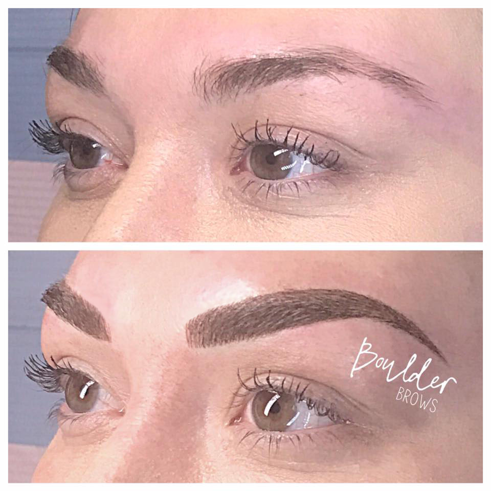 Top: Client's Natural Brow| Bottom: After Microblading