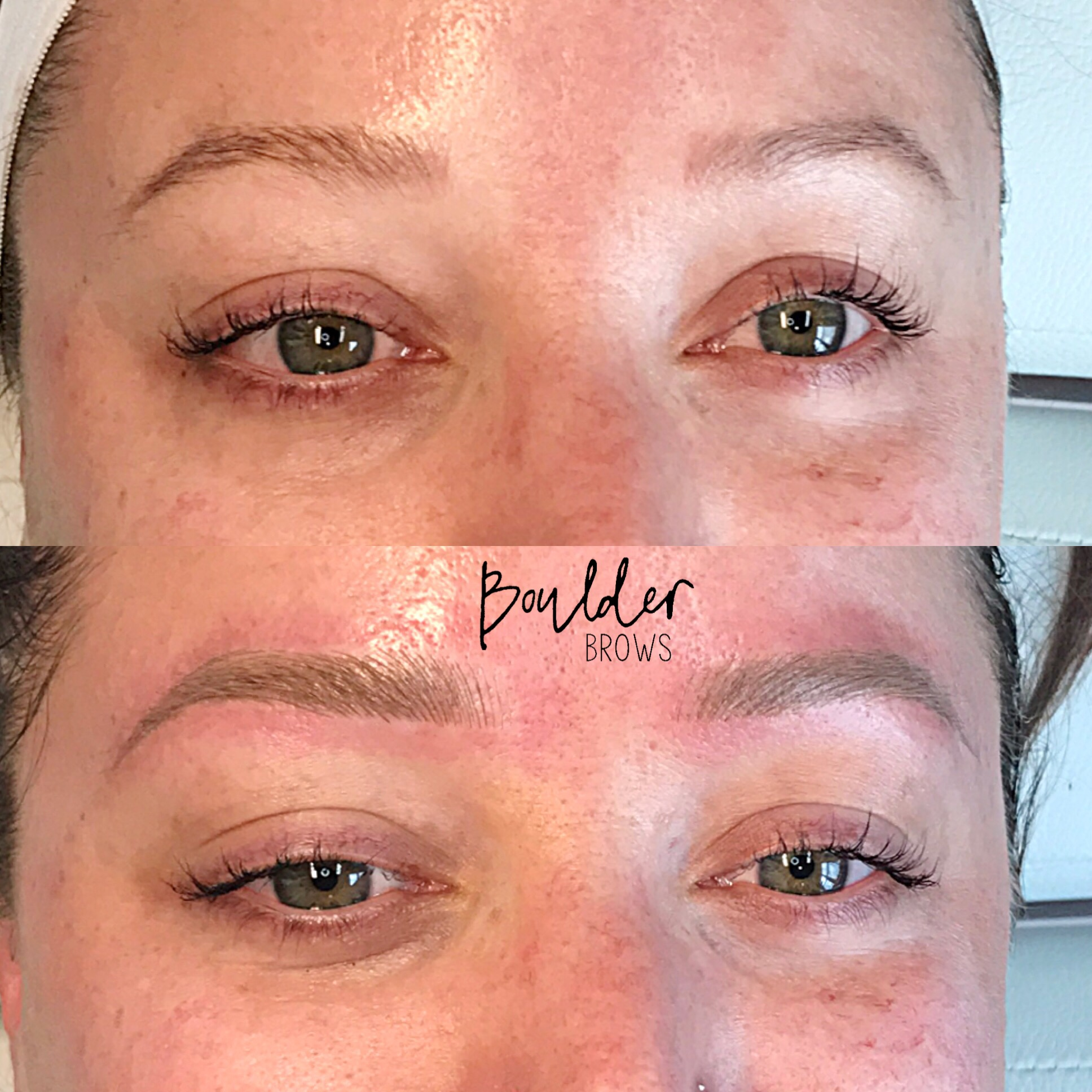 1ST MICROBLADING SESSION/CORRECTION  Top: Before + Faded Pre-Existing Tattoo | Bottom: After