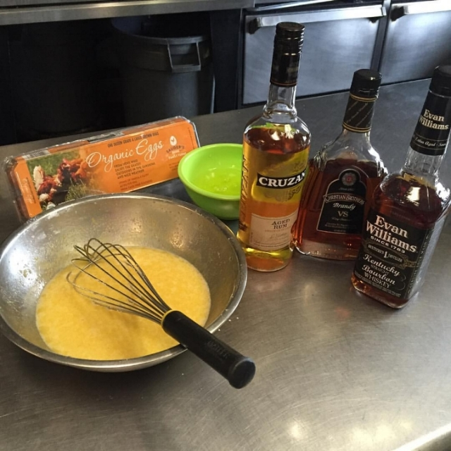 Beaten eggs, whites separated and liquors used.
