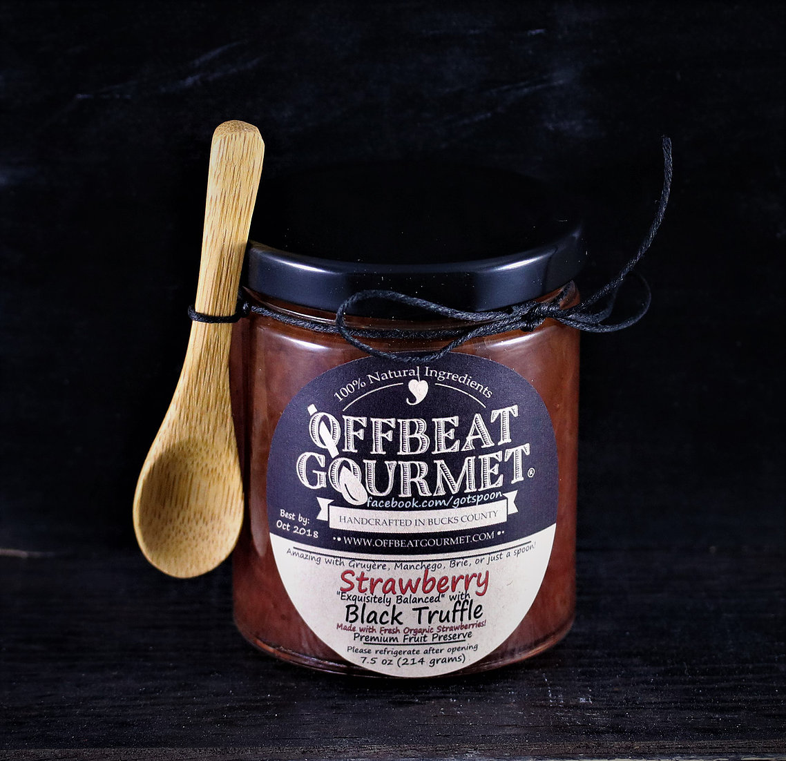 Offbeat Gourmet Strawberry Black Truffle Jam available locally and online.